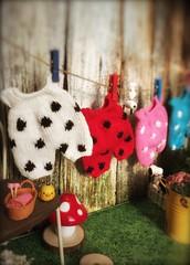 My knit handmade Blythe polka romper.. 😜..