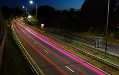 Strange pink lights??!!! (Westhamwolf) Tags: night trails a10 motorway hertfordshire brake lights car