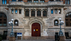 2016 - Baltic Cruise - Gothenburg Sweden - University Library (Ted's photos - For Me & You) Tags: 2016 balticcruise cropped gothenburg tedmcgrath tedsphotos vignetting gothenburgsweden universityofgothenburg universityofgothenburglibrarybuilding entrance steps streetscene street streetlamp windows doors doorway step arches reflection