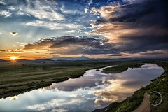 Sunset Across River - Inner Mongolia