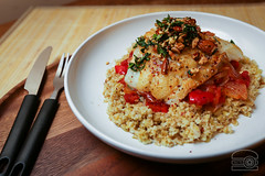 Blue Apron - Basque-Style Cod with Sweet Pepper-Tomato Sauce & Freekeh (sheryip) Tags: blue apron food foodporn basque cod