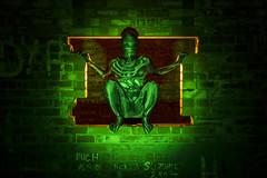 Spooked! (Waving lights in the dark) Tags: ghost ghostly ghoul alien collaboration model patient patience green backlit backlighting backlight ledlenser x21r2 flash gelledflash gelled wavinglightsinthedark lightpainter lightpainted spook spooky spooked