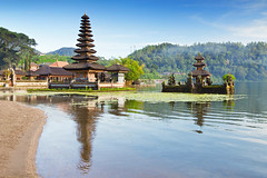 Temple Ulun Danu (Bali) (Voyages Lambert) Tags: bedugal beautiful balineseculture morning purauludanautemple eastasianculture lakebratanarea beauty hinduism scenics religion spirituality tranquilscene exoticism blue old famousplace architecture traveldestinations bali indonesia asia reflection island landscape lake fog water templebuilding beratan ulun