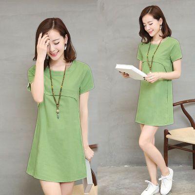 Summer Styles plus Size Frauen tragen lose dünne Leinens Kleid mit kurzen Ärmeln, die Kleider lange casual Baumwolle in Koreanisch
