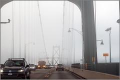 lions gate fog (tesseract33) Tags: world travel bridge light cars car fog vancouver nikon bridges sidewalk lionsgatebridge nikondigital tesseract33 peterlangphotography squamishphotographers