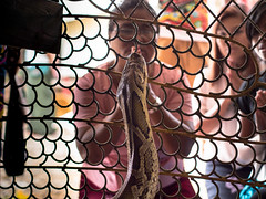 Praying to the Reincarnated Monk (Magic Pea) Tags: street woman fence temple photography photo wire snake candid burma buddhist praying streetphotography monk myanmar python bago magicpea
