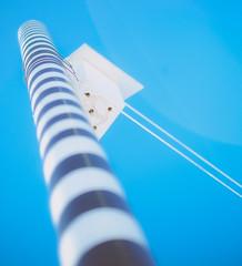 DSCF5431.jpg (Patrick Chondon) Tags: blue sky fuji vibrant birdhouse pole striped bold xe1