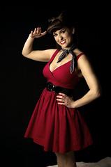 Alissa (B Parker's Photography) Tags: female america photoshop nikon awesome patriotic 50s brunette pinup reddress cs6 d5100