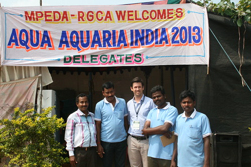 Curtis Lind (center) with staff members of the Rajiv Gandhi Center for Aquaculture. Photo by WorldFish, 2013.