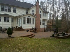 After - Rear tiered patio (The Sharper Cut Landscapes) Tags: landscaping steps maryland patio paver retainingwall charlescounty landscapedesign seatwall porttobacco bullnose countrymanor entertainmentarea londoncobble landscapecompany belgardhardscapes