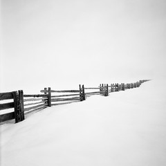 disappearing fence 1 (sawtoothphoto) Tags: blackandwhite fence wide idaho 4x5 hi crooked acros cambo fredstillings