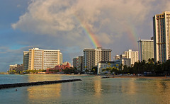Double the Fun (jcc55883) Tags: ocean sky clouds hawaii rainbow nikon waikiki oahu pacificocean waikikibeach royalhawaiian moanasurfrider yabbadabbadoo d40 kalakauaavenue sheratonwaikiki kuhiobeachpark nikond40