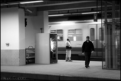 A day in a train 2 (Philippe Coupatez) Tags: people blackandwhite station train dock nikon noir mood gare noiretblanc trainstation instant inside blanc quai personne trein atmosphre d700 philippecoupatez