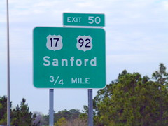 Exit 50 on FL 417 North (peachy92) Tags: florida roadsign roadsigns sanford seminolecounty sanfordfl us92 us17 roadgeek sanfordflorida seminolecountyflorida seminolecountyfl fl417