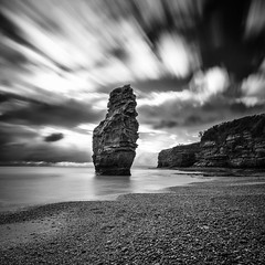 Stubborn (Martin Mattocks (mjm383)) Tags: longexposure sea blackandwhite seascape clouds canon mono horizon pebbles stack devon coastline canoneos5dmarkii cornwalllandscapes mjm383 martinmattocksphotography