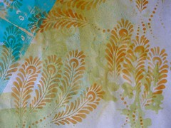 DSCF3857 (Chantal 61) Tags: acrylique gelatinprint glatine stenciljuliebalzerdesign peacockfeathersstencil