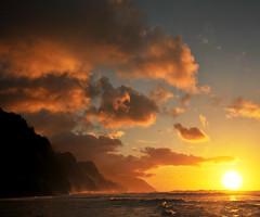 view of na pali coast 2013 cool sunset (houstonryan) Tags: ocean sunset vacation sun beach hawaii islands pacific time ryan houston kauai beaches february setting vacations kee 2013 houstonryan