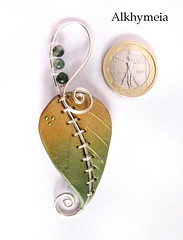 Chlorophyll, the pendant 5 (Alkhymeia) Tags: original verde green art nature leaves metal stone foglie work wrapping liberty gold necklace beads leaf wire artistic handmade spirals unique ooak inspired deep jewelry bijoux pasta jewellery polymerclay fimo fairy creation fantasy clay wicked bead wired sculpey handcrafted foglia unusual delicate blatt pendant enchanted whimsical jewel spirale artesania wiccan cernit elvish polymer colgante wirework anello neckpiece pendente premo collana bijouterie wirewrapped artigianato silverplated ciondolo halskette artigianale gioiello spirali bizuteria sintetica polimerica bigiotteria alkhymeia alkhy