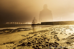 Self Portrait at Bundoran Pier (linda_mcnulty) Tags: longexposure ireland sea portrait woman seascape beach water girl wall canon landscape person coast pier moving sand waves ghost quay shore multiple donegal bundoran