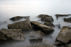 Rocks in Misty Water (Callum-Ritchie) Tags: ocean light sea lighthouse house blur water rock speed boats scotland rocks edinburgh long exposure slow harbour rope shutter newhaven callum ritchie