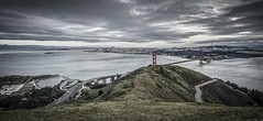 waiting game | marin headlands, ca (elmofoto) Tags: sf sanfrancisco road landscape oakland nikon cityscape fav50 pano panoramic goldengatebridge baybridge sfbayarea curve sausalito hdr marinheadlands d800 ggb fav25 slackerhill nikond800 exposurefusion baylights elmofoto