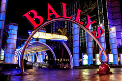 Bally's Monorail Station (Gary Burke.) Tags: gambling colors station night photoshop canon eos rebel lights hotel evening colorful neon lasvegas nevada entrance casino resort nv depot monorail dslr ballys hdr lasvegasstrip photomatix monorailstation garyburke cs5 klingon65 t1i canoneosrebelt1i