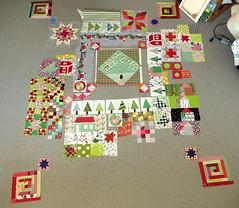 random blocks (Lotje quilts) Tags: red green grey quilt sampler random sewing blocks patchwork along qal