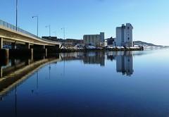 Reflection (hsveaas) Tags: bridge blue winter snow reflection water norway river lumix mirror norge vinter panasonic fjord vei e6 vann sn bru fjre refleksjon bl elv sj nordtrndelag trndelag steinkjer 2013 inntrndelag fx66