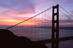 Subtle Silhouette Dawn at the Golden Gate (RZ68) Tags: morning bridge light sky sun color film silhouette skyline clouds sunrise dawn golden bay gate moody no marin battery have velvia headlands haha 6x7 spencer provia could fool although aprils ggnra e100 i rz68