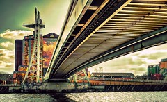 Fuji X-E1 First Light - Under The Bridge (>Cluke) Tags: pictures bridge panorama hot colour art water architecture digital landscape canal big cool waves fuji harbour awesome digitalart salfordquays artsy fujifilm picturesque catchy lowry hdr visualart onfire xe1 mediacity colourlicious cluke fujifilmxe1 fujixe1
