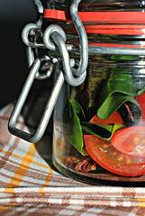 captive salad (brescia, italy) (bloodybee) Tags: red stilllife food macro green glass tomato salad lettuce jar
