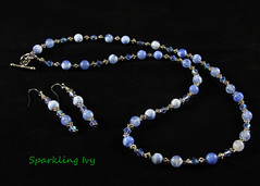 "22"" Blue Bead Necklace & Earrings (SparklingIvy) Tags: silver handmade jewelry bead swarovski earrings lampwork handmadejewelry swarovskicrystals lampworkbeads"
