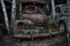 Renault 4CV (WolfiNim) Tags: auto old urban abandoned nature cemetery car dark lost austria nikon decay exploring natur places forgotten urbanexploration oldtimer forsaken exploration ue d90 autofriedhof