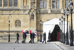 Baroness Thatcher's coffin arrives at the Houses of Parliament
