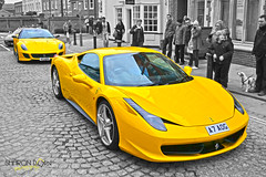 Yellow is the colour... (Sharon Dow Photography) Tags: uk england italy car yellow sussex italian nikon italia westsussex ferrari piazza southeast horsham selectivecolor selectivecolour eastermonday colouraccent 2013 piazzaitalia d3100 sharondowphotography sharondow 4xxv eastermonday2013 a7aog a3aog
