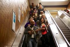 Spadina Escalator (cookedphotos) Tags: music toronto station canon subway happy ukulele ttc escalator sing cheer spadina flashmob 5dmarkii projectukulelegangsterism