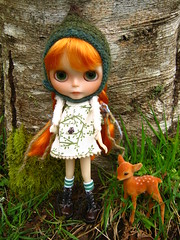 IMG_3298...Rory is warm in her Little Ditzies gnome hat and Ellie Moe owl dress as she explores the beauty around her in the woods.