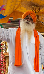 A sikh elder at the 2013 Vaisakhi festival parade in Southampton (Anguskirk) Tags: uk england color colour festival hampshire procession sikh gurdwara southampton turbans saris vaisakhi nagarkirtan