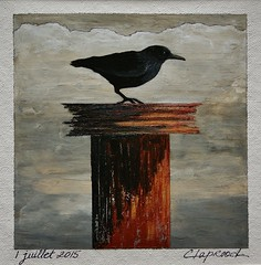 1 juillet 2015 - July 1, 2015 (marieclaprood) Tags: art painting illustration acrylic texture acrylicpainting originalart crow surrealist solitary neutraltones nature canvas artoncanvas marieclaprood claprood dailypainting july summer smallpainting bird blackbird
