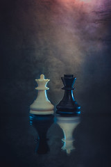 Rivals (Ro Cafe) Tags: mm macro macromondays opposites chess queen king white black reflection textured nikkormicro105f28 nikond600