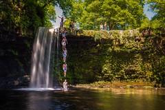 Taking the jump at Sgwd Gwladys Waterfall (technodean2000) Tags: sgwd gwladys waterfall south wales uk brecon nikon d610 lightroom summer light vibrant colour