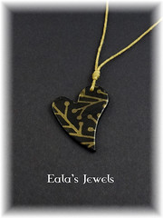 Gold branches heart pendant (Eala's Jewels) Tags: polymer clay pendant handmade jewelry ealajewels silkscreen black gold branch tree leaf heart helen breil