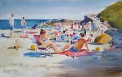 Ballymoney busy beach (katekos) Tags: watercolor watercolour water wexford ballymoney beach sand seascape sea summer people courtown tanning sky sketch painting art akwarela krajobraz morski katekos