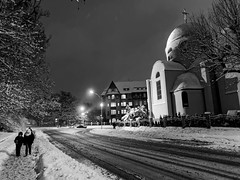 Winter, evening, Stettin, Poland. (TomasLudwik) Tags: winter zima snieg snow night evening bw blackandwhite m43