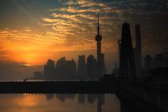 Morning has Broken (Ben-ah) Tags: sunrise morninghasbroken landscape skyline shanghai pudong bund river sun cloud architecture highrise