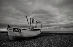 SM4 (hall1705) Tags: fishingboat sm4 blackandwhite mono fishing boat westsussex p340 nikon coolpix clouds sky worthing seaside shore sea