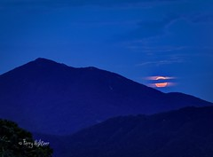 Full Sturgeon Moon Rise By Peaks of Otter (Terry Aldhizer) Tags: moon rise full peaks otter blue ridge mountains evening twilight virginia clouds august summer terry aldhizer wwwterryaldhizercom