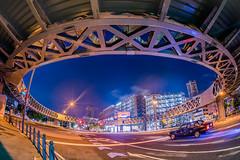 Circle Footbridge (aotaro) Tags: circle minatomirai circlewalk sigma15mmf28exdgfisheye japan intersection taxi yokohama crossroads longexposure night ilce7m2 circlefootbridge