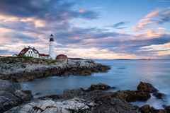 Portland Head Light (sergey.korytnikov) Tags: sunset water clouds lighthouse ocean rocks longexposure portlandheadlight