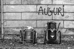 waste problem? (LinusVanPelt ) Tags: rome trash building waste city roma wall bw garbage gdg wishes lazio italia it